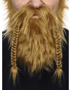 Barba e baffi rossi da vichingo per adulto
