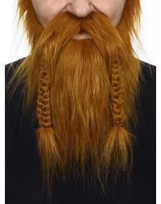 Barba e baffi castani da vichingo per adulto