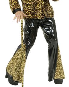 Pantaloni a zampa in vinile nero e leopardato taglia grande