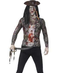 Maglietta da pirata zombie per uomo
